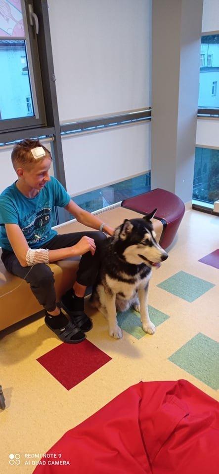 Deimantui labai patiko ligonius lankę šunys.<br>Asmeninio archyvo nuotr.