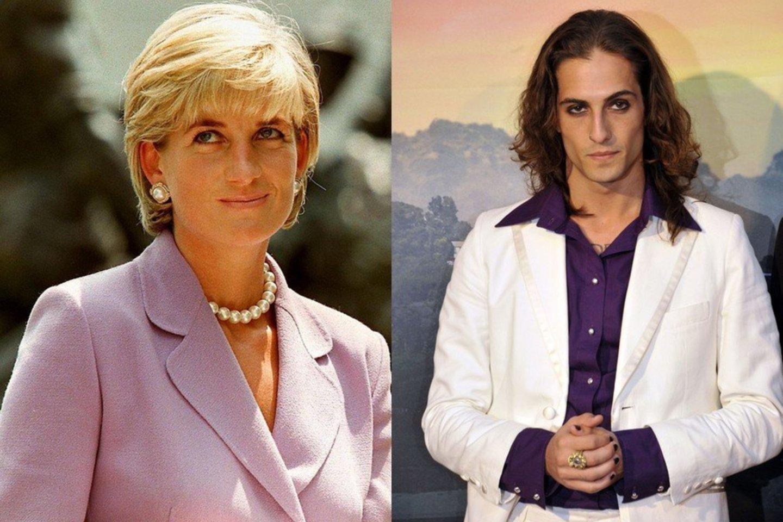 Princesė Diana ir Damiano Davidas.<br>Lrytas.lt koliažas.