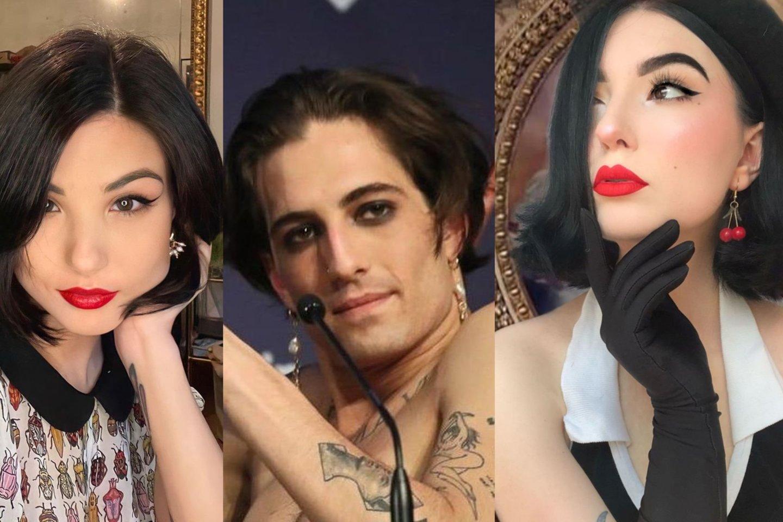 Damiano Davido kairėje – jo mergina Giorgia, o dešinėje – jos antrininkė vilnietė Justina.<br>Lrytas.lt koliažas.