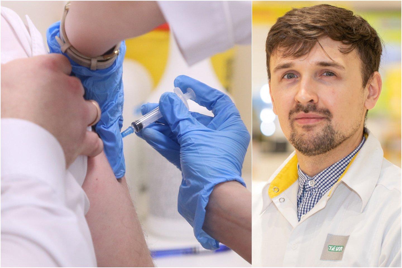 Vaistininkas Faustas Bertulis pasakoja, kokius vaistus galima vartoti prieš ir po skiepo, bei kaip tai gali paveikti kuriamą imunitetą virusui.<br>Lrytas.lt koliažas