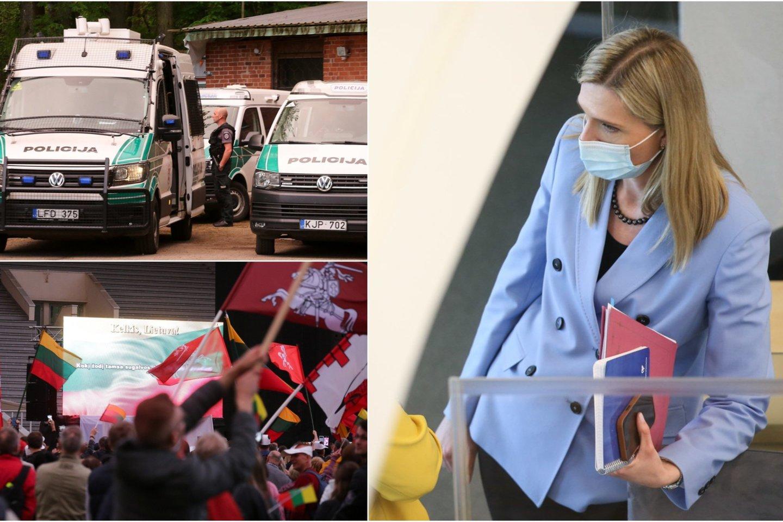 """Vidaus reikalų ministrė Agnė Bilotaitė ketvirtadienį Seime buvo paprašyta atsakyti į dalies opozicijos atstovų parengus klausimus dėl policijos veiksmųprieš """"Didįjį šeimos gynimo maršą"""".<br>Lrytas.lt koliažas"""