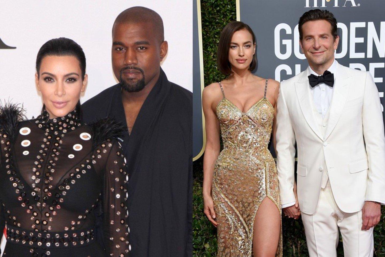 Kanye Westas su buvusia žmona Kim Kardashian (kairėje) ir Bradley Cooperis su buvusia žmona Irina Shayk.<br>Scanpix nuotr.