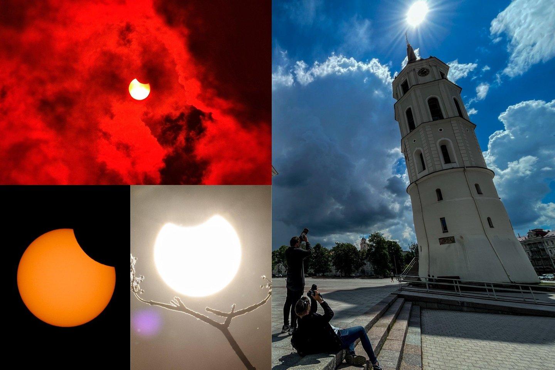 Ketvirtadienio popietę Lietuva ir pasaulis stebėjo Saulės užtemimą.<br>V. Ščiavinsko / A. Rutkausko / Scanpix nuotr.