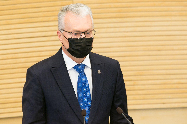 Gitanas Nausėda antradienį Seime perskaitė antrąjį metinį pranešimą.<br>T.Bauro nuotr.