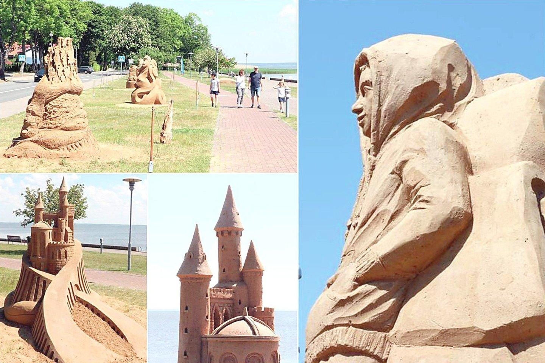 Kuršių marių krantinę vėl papuošė smėlio skulptūros – jas sukūrė šeši menininkai iš Lietuvos, Latvijos ir Nyderlandų.