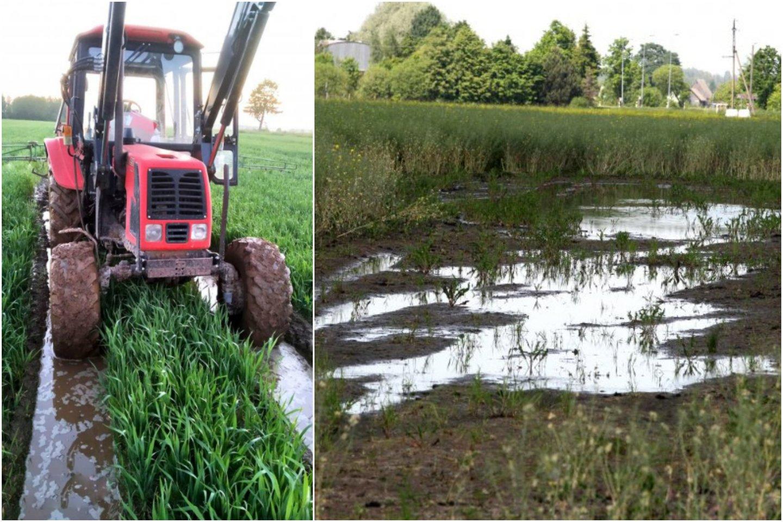 Biržų rajone yra vietų, kur užklimpsta traktoriai.<br>T.Mickevičiaus nuotr.