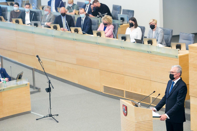 G.Nausėdos kalba sulaukė daug kritikos.<br>T.Bauro nuotr.
