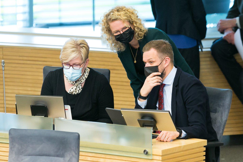 A.Armonaitė teigė jaučianti bendrumą su G.Landsbergiu ir I.Šimonyte.<br>T.Bauro nuotr.