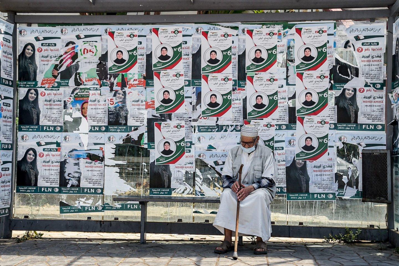 Rinkiminiai plakatai Alžyre.<br>AFP/Scanpix nuotr.