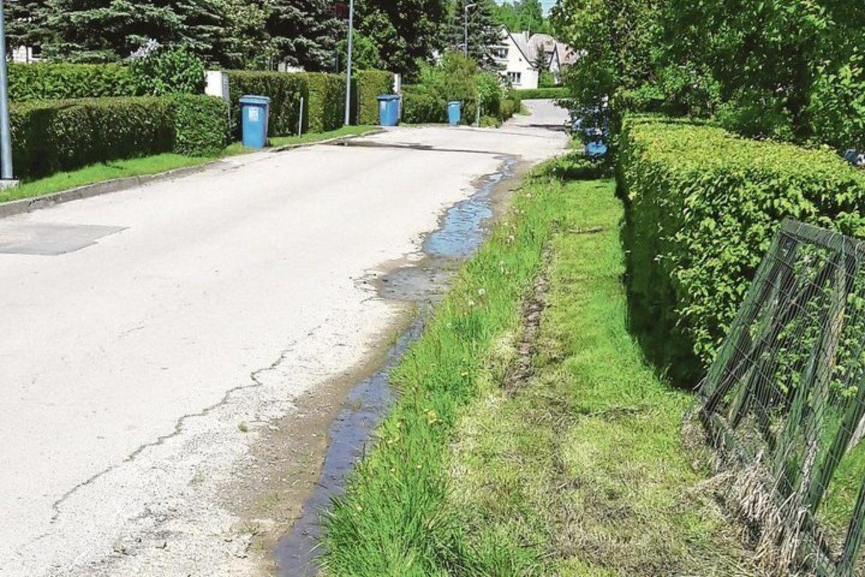 Vandens spalva gyventojui sukėlė įtarimų, kad tai gali būti buitinės nuotekos.<br>Nuotr. iš asmeninio archyvo