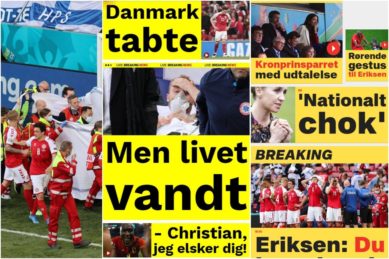 Danijos žiniasklaidos antraštės skelbė apie nacionalinį šoką ir gyvenimo pergalę.<br>lrytas.lt koliažas.