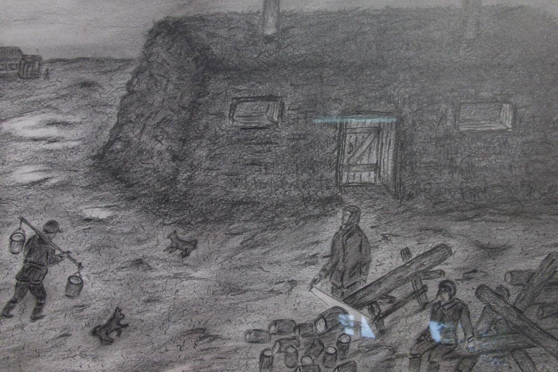 Tremtinių jurta ant Laptevų jūros kranto.<br>Alfredo Klimašausko pieš.