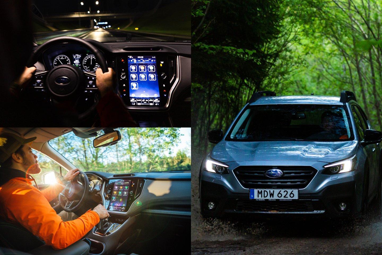 """""""Subaru Outback"""" atlieps visus aktyvaus laisvalaikio poreikius, o kasdieniame gyvenime leis džiaugtis komfortišku ir saugiu keliavimu tarp taško A, B, C ir visų kitų.<br>lrytas.lt montažas."""
