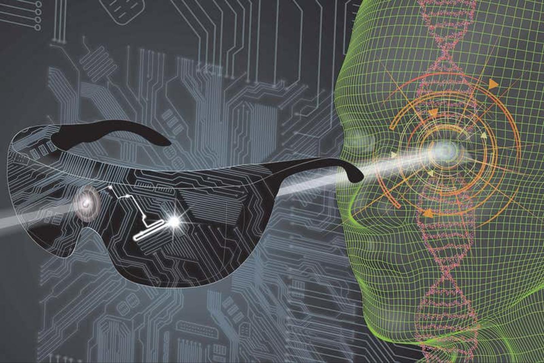 """Pasinaudojus aukštosiomis technologijomis, aklajam atkurta rega – tam pasitelkta optogenetika, kai nervų ląstelės genetiškai pakeičiamos taip, kad reaguotų į šviesą.<br>J.A. Sahel, """"Nature Medicine"""" ir """"StreetLab/Institut de la Vision"""" iliustr."""