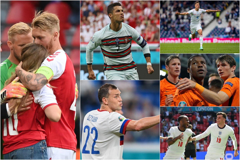 Pirmasis Europos čempionato turas buvo kupinas įsimintinų momentų.<br>AFP/AP/Reuters/Scanpix nuotr. koliažas.