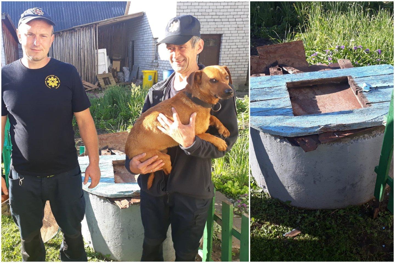 Į 9 metrų gylio vandens šulinį įkritusį šunelį skubėjo gelbėti Kelmės ugniagesiai.<br>Kelmės priešgaisrinės gelbėjimo tarnybos nuotr.