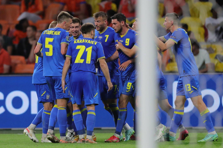 Ukrainos rinktinė sužaidė įspūdingą mačą su Nyderlandais, tačiau krito.<br>AFP/Scanpix.com nuotr.