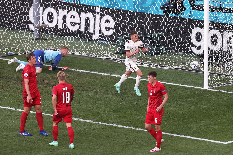 Belgija antrame kėlinyje išlygino rezultatą dvikovoje su danais.<br>AFP/Scanpix.com nuotr.