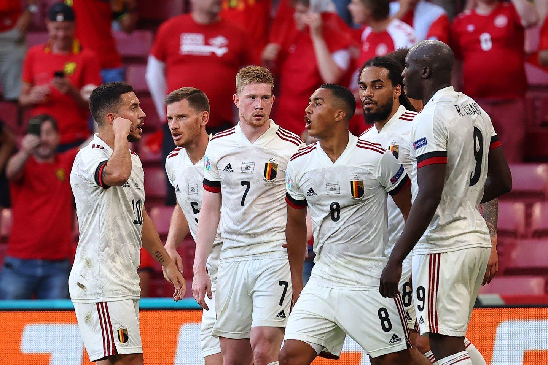 """Belgijos rinktinė jau žais """"Euro 2020"""" aštuntfinalyje.<br>AFP/Scanpix.com nuotr."""