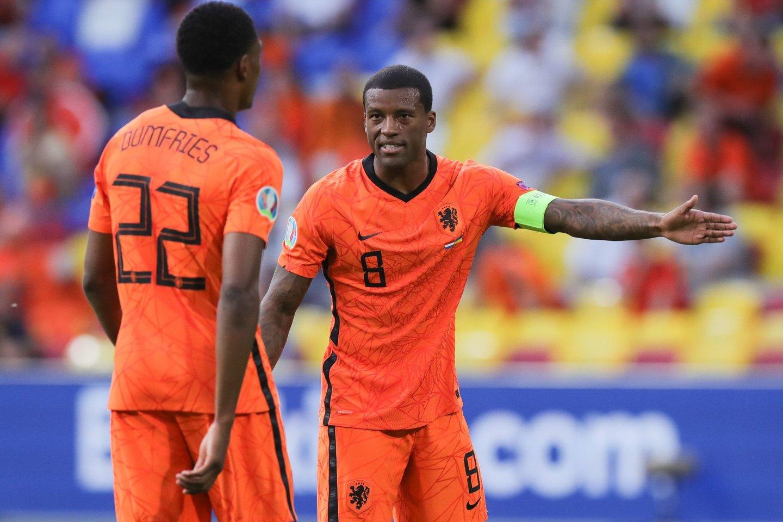 Nyderlandų futbolo rinktinės žaidėjai.<br>AFP/Scanpix.com nuotr.