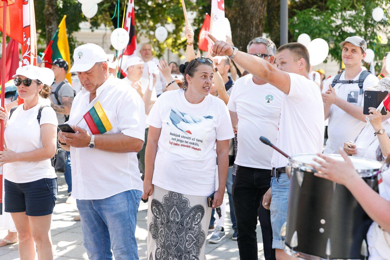 Protestas nuo Seimo persikėlė prie Vyriausybės: skanduojami į posėdį susirinkusių ministrų vardai.<br>T.Bauro nuotr.