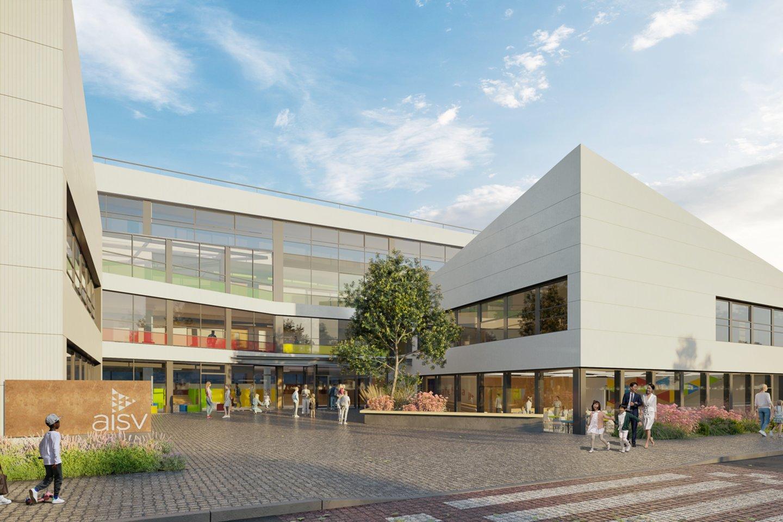 Prie Pavilnių parko pradedamos naujo modernaus Vilniuje įsikūrusios Tarptautinės Amerikos mokyklos (AISV) pastato statybos.