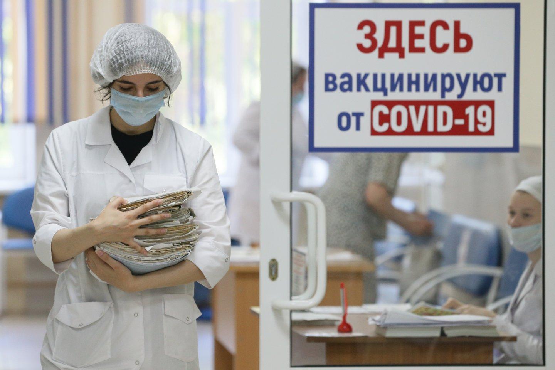 Rusijos parlamento rinkimai vyks tris dienas, siekiant apriboti koronaviruso plitimą, penktadienį pranešė Centrinės rinkimų komisijos (CRK) vadovė Ela Pamfilova, Maskvoje užfiksavus paros užsikrėtimo atvejų prieaugio rekordą.<br>TASS/Scanpix nuotr.