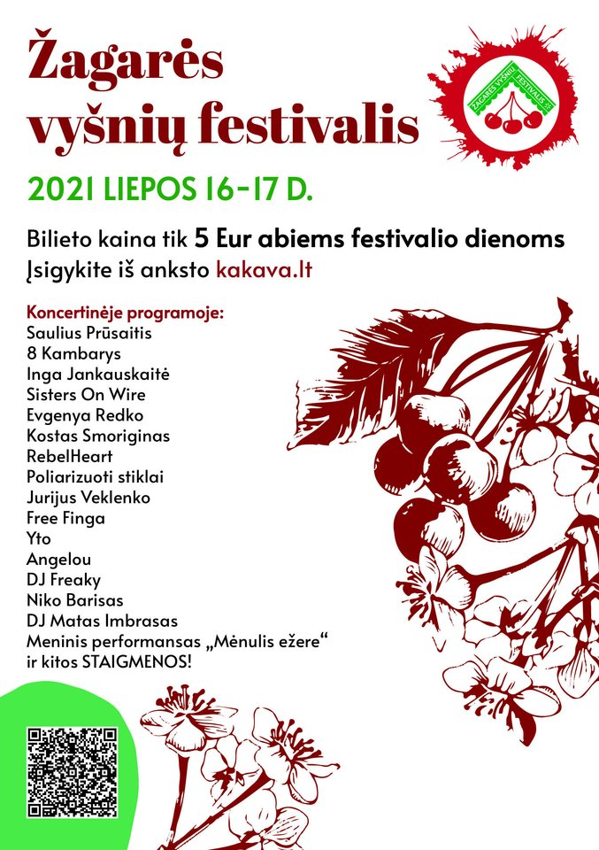 """Liepos 15 -18 d. Žagarėje jau septynioliktą kartą įvyks Žagarės vyšnių festivalis 2021 – vienas žinomiausių festivalių Lietuvoje, be kurio vasara jau tiesiog neįsivaizduojama. Festivalis šiemet kupinas naujovių, o jo šūkis – """"Visiems, kas su mumis"""".<br> Organizatorių nuotr."""