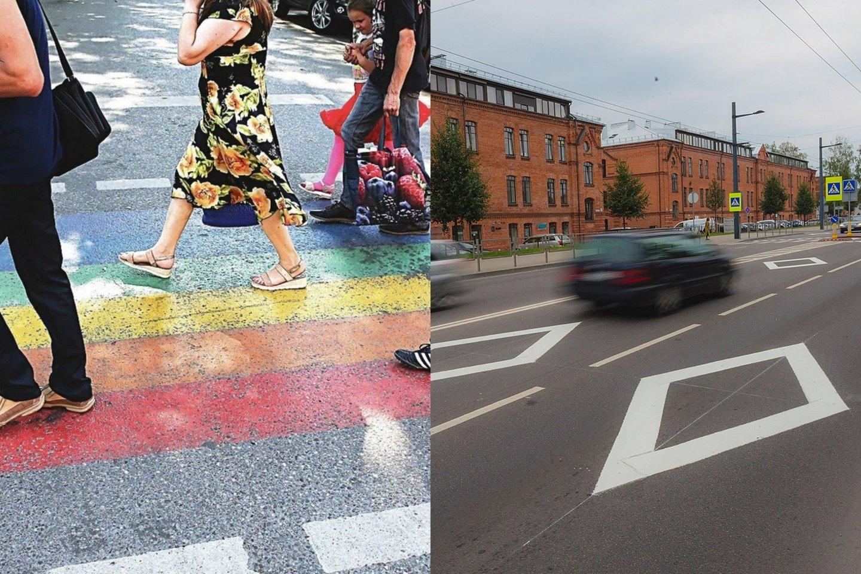 Rombų formos ženklinimas Kauno gatvėse per kelerius metus išgelbėjo ne vieną žmogų.<br>lrytas.lt fotomontažas