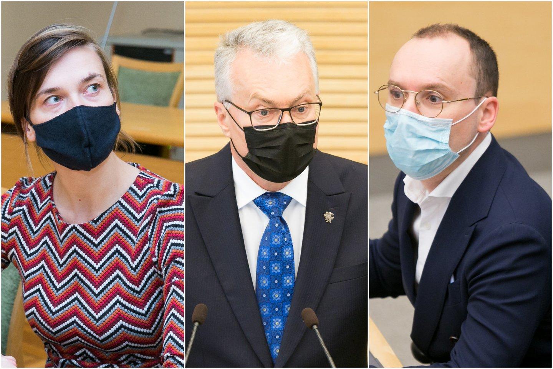 Radvilė Morkūnaitė-Mikulėnienė, Gitanas Nausėda, Matas Maldeikis.<br>Lrytas.lt koliažas