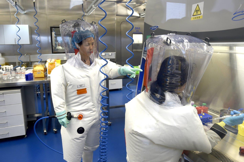 Kinijos mikrobiologėShi Zhengli dirba su kitais tyrėjais Uhano virusologijos instituto laboratorijoje.<br>AP / Scanpix nuotr.