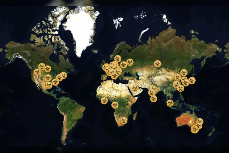 BSL4 saugumo lygio laboratorijos pasaulyje.<br>globalbiolabs.org/map iliustr.