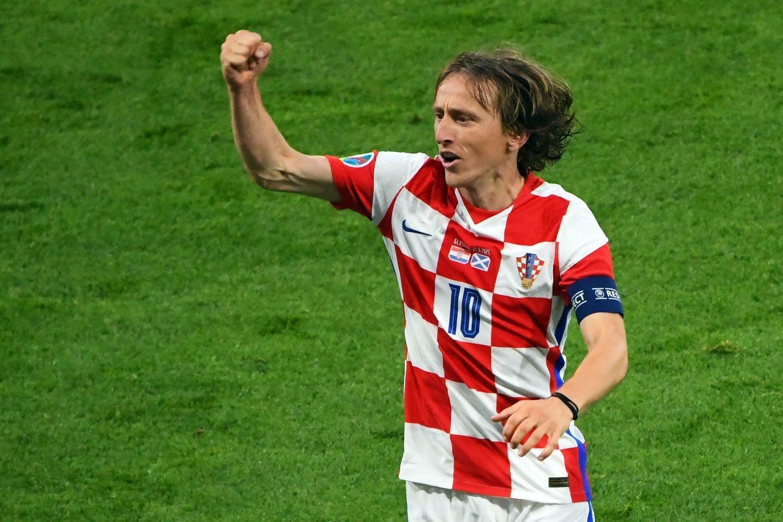 Kroatijos rinktinės kapitonas Luka Modričius.<br>AFP/Scanpix nuotr.