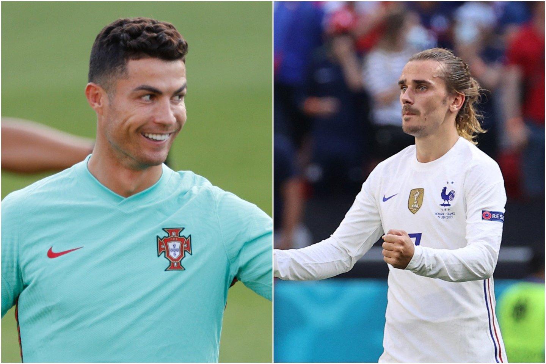 """A.Griezmannas (dešinėje) nusilenkė C.Ronaldo talentui, bet jo komandai labai svarbu atkeršyti portugalams už """"Euro 2016"""".<br>lrytas.lt koliažas."""