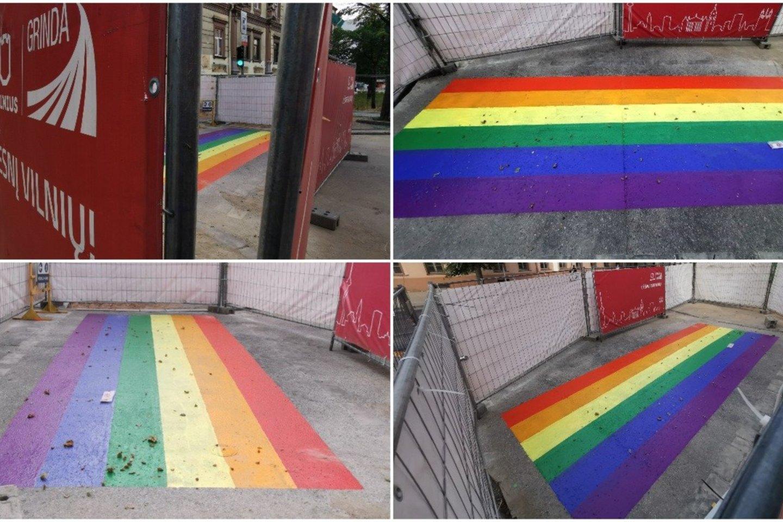 Vilniuje – ir vėl ryški vaivorykštės spalvų perėja: kol kas aptverta tvora.<br>R.Danisevičiaus nuotr.