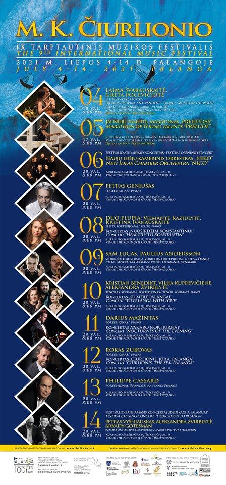 Devinto tarptautinio M. K. Čiurlionio muzikos festivalio programa.<br>Pranešimo nuotr.
