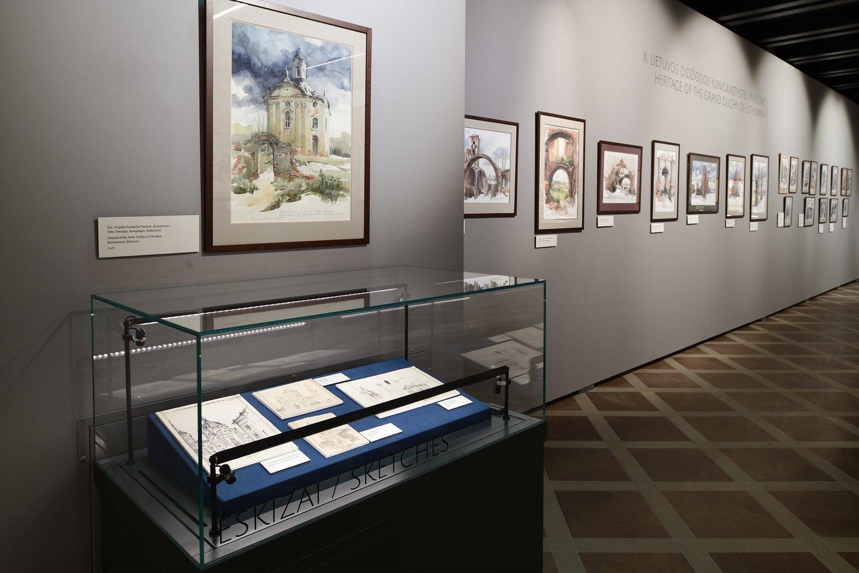 Dovanota akvarelė pasibaigusios parodos ekspozicijoje.