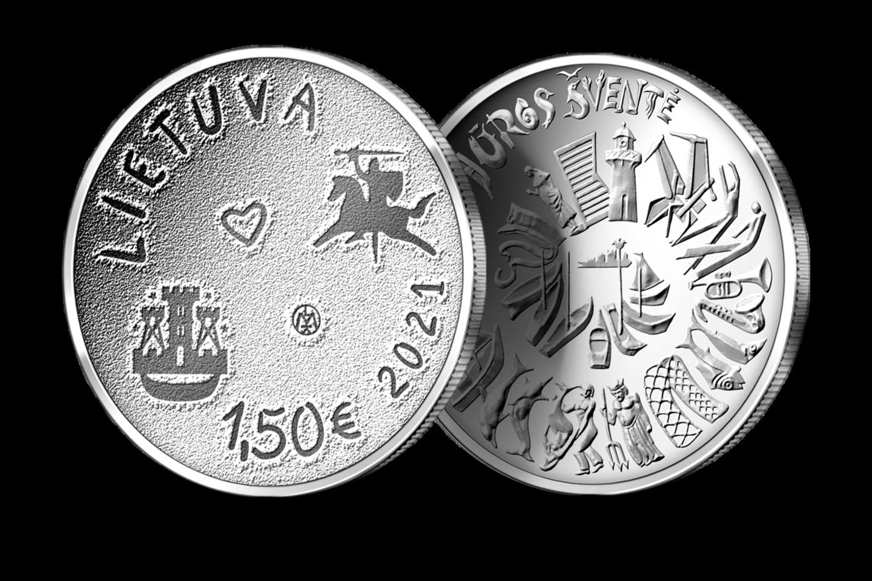 Jūros šventės 1,5 euro nominalo moneta.<br>Organizatorių nuotr.