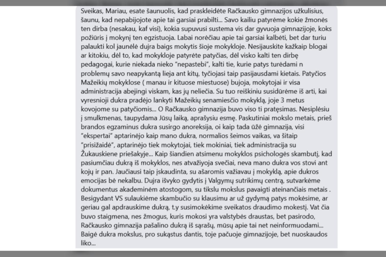 Marius žinučių sulaukė ir iš tėvų.<br>Ekrano nuotr.