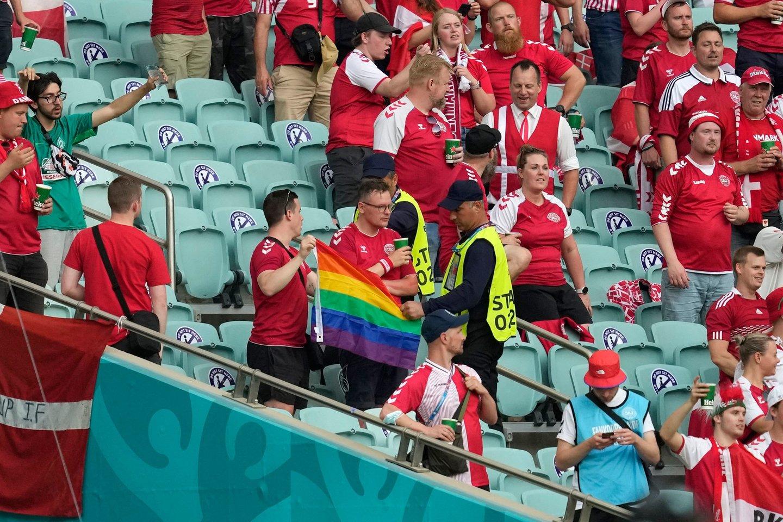 Danijos sirgalius mojavo vaivorykštės spalvų vėliava.<br>AFP/Scanpix nuotr.