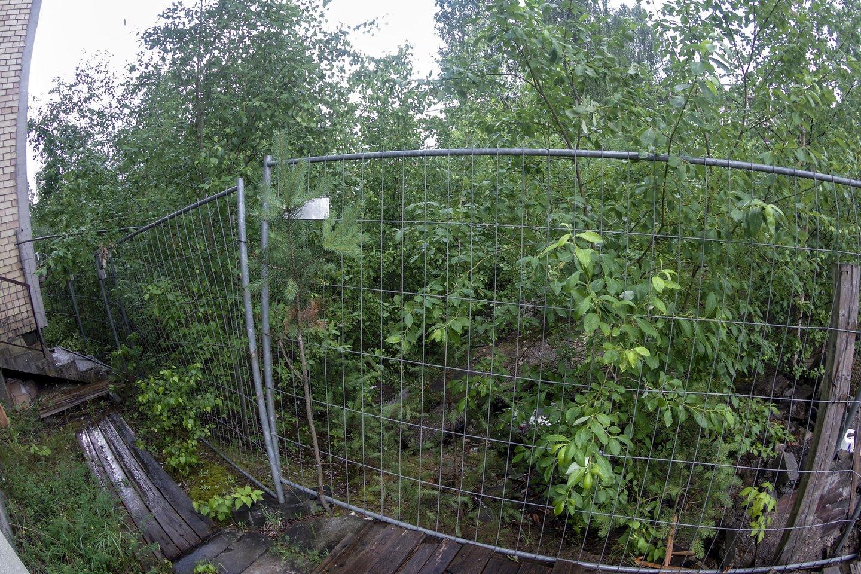 Štai už šios prieš 13 metų įrengtos tvoros jau seniai turėjo stovėti devynaukštis.<br>V.Ščiavinsko nuotr.