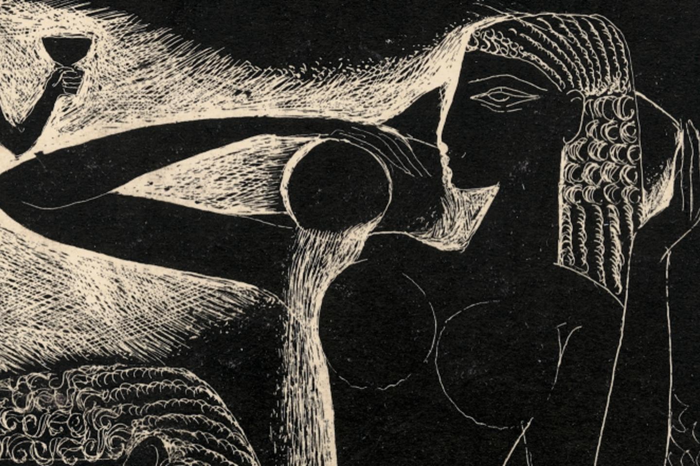 """Stasys Krasauskas. Iliustracija iš ciklo """"Giesmių giesmė"""" (fragmentas). 1966.<br>LNDM nuotr."""