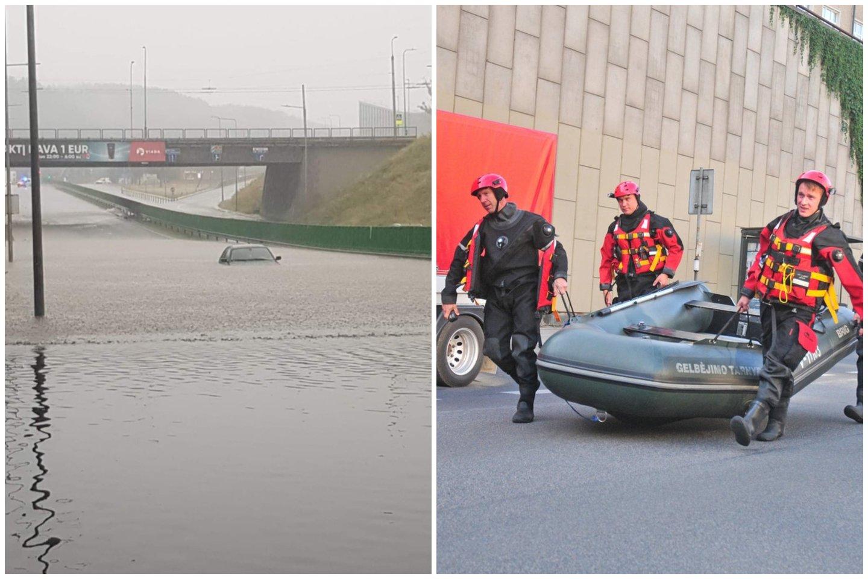 Potvynis po liūties Lietuvoje įkalino žmones apsemtuose automobiliuose ir namuose.<br>Lrytas.lt koliažas