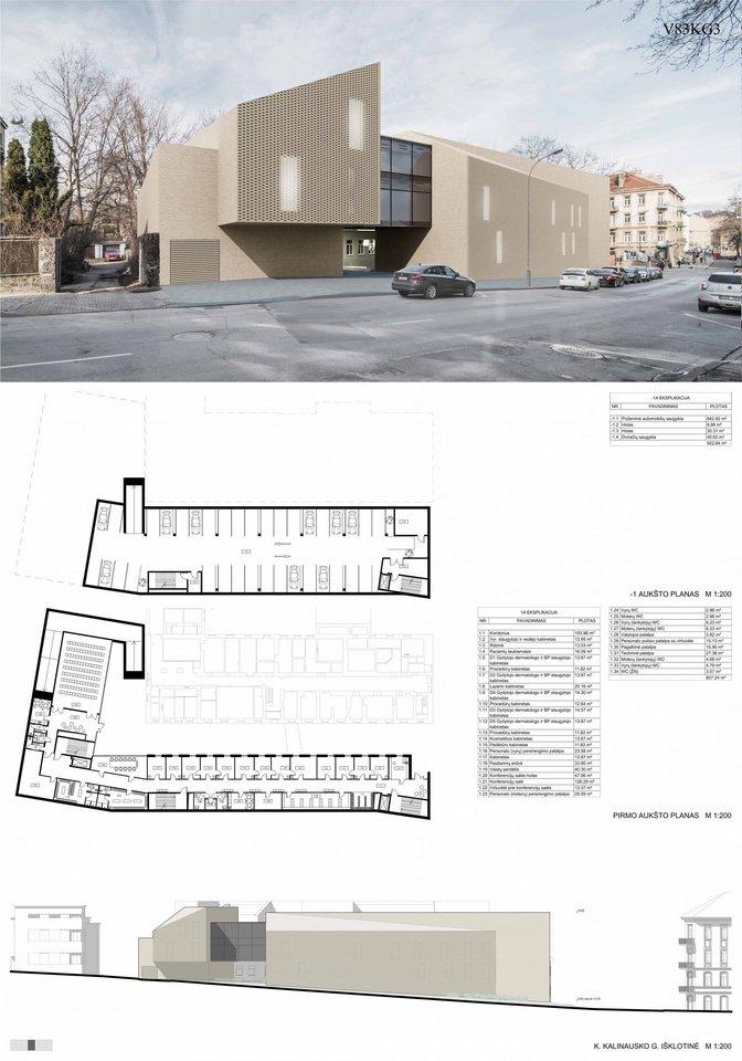 V83KG3 – kuriant pastato architektūrinę išraišką siekiama kompoziciją sudėlioti iš urbanistinių teiginių, reflektuoti supančias gretimybes bei surasti estetinius sąryšius su esamais poliklinikos korpusais.<br>Vizual.