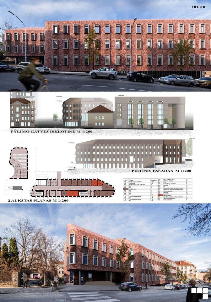 101010 – projektuojamam poliklinikos pastatui suteikiama individuali architektūrinė išraiška atsižvelgiant į aplinkoje vyraujančias architektūrines formas, masteliškumą, detales.<br>Vizual.