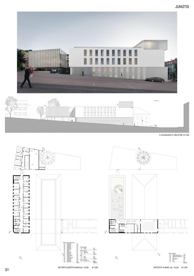 """""""Jungtis"""" – projektuojamas priestatas yra Naujamiestyje, Vilniaus senamiesčio vizualinės apsaugos pazonio teritorijoje, sklype su skirtingo laikotarpių pastatais.<br>Vizual."""