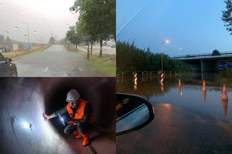 Antradienį pliaupiantis lietus užtvindė sostinės gatves.<br>lrytas.lt fotomontažas
