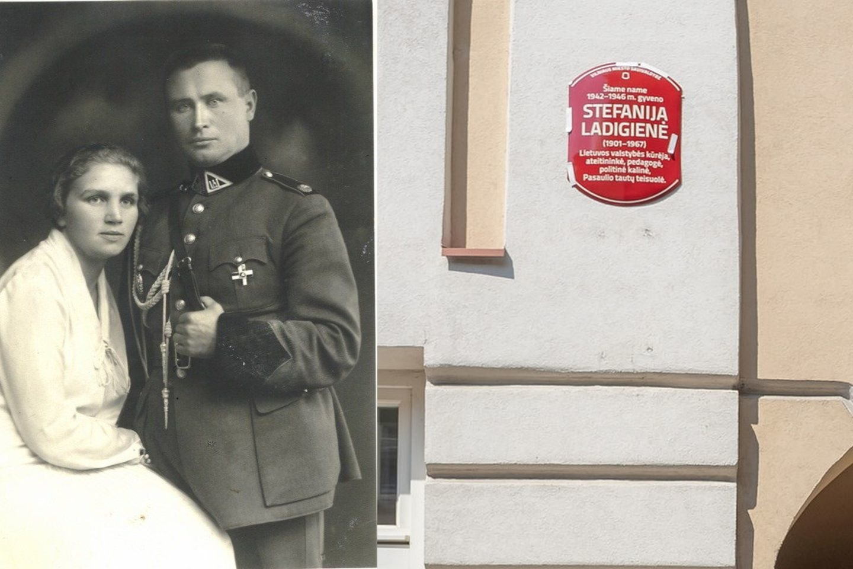 Stefanija Ladigienė su vyru generolu Kaziu Ladiga 1927 m.ir naujoji atminimo lenta.<br>LYA nuotr.