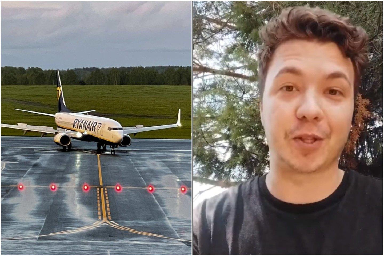 """Minske sulaikytas opozicinio """"Telegram"""" kanalo """"Nexta"""" įkūrėjas Ramanas Pratasevičius naujoje """"Twitter"""" paskyroje publikavo vaizdo įrašą. <br>lrytas.lt koliažas."""