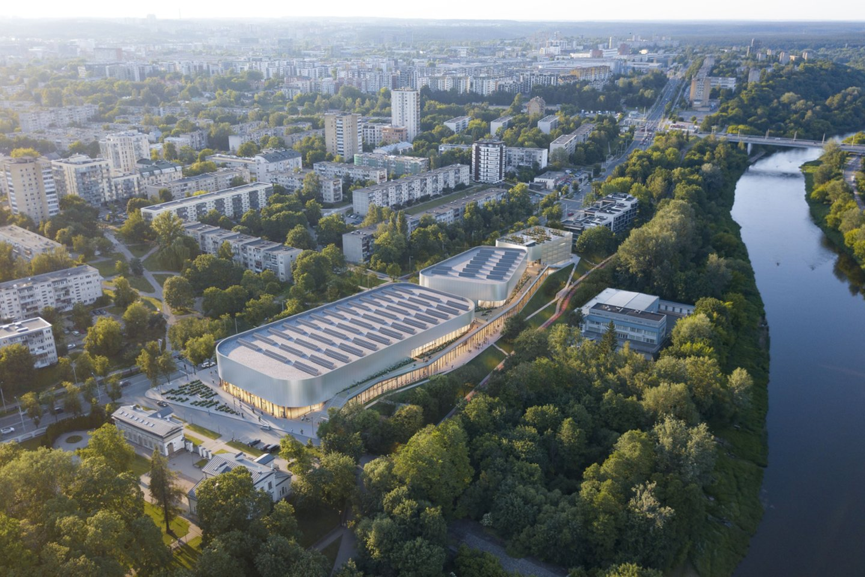 Lengvosios atletikos maniežo Žirmūnų g. 1h, Vilniuje architektūrinio konkurso vizualizacija.<br>Vizual.